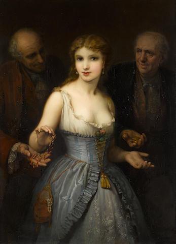 Stéphane Baron (French, 1830-1921) A popular courtesan 44 1/2 x 33in (113 x 84cm)