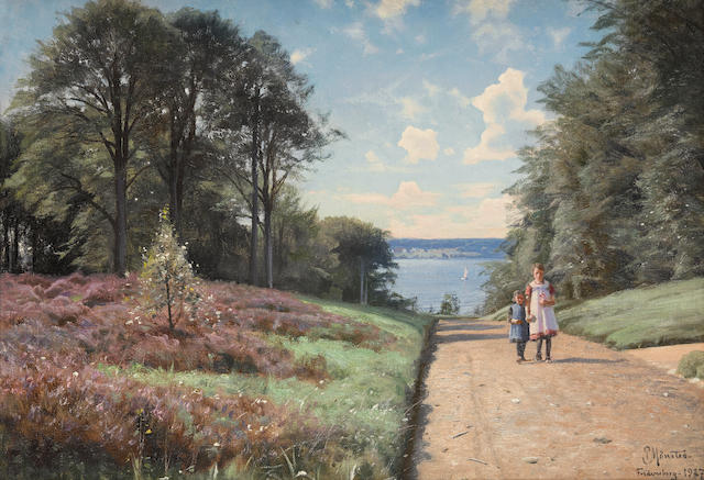 Peter Mørk Mønsted (Danish, 1859-1941) An afternoon stroll 14 x 20in (35.5 x 50.8cm)