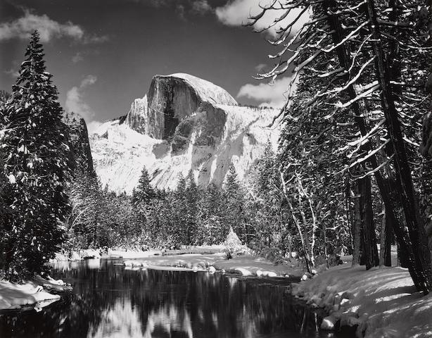 Ansel Adams (1902-1984); Half Dome, Merced River, Winter;