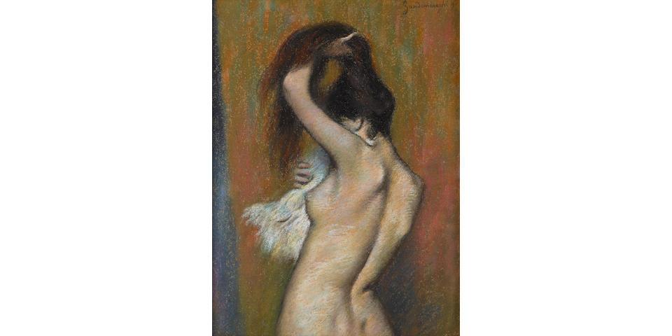 Federico Zandomeneghi (Italian, 1841-1917) Après le bain: femme nue s'essuyant 15 1/4 x 11 3/8in (38.8 x 29cm)