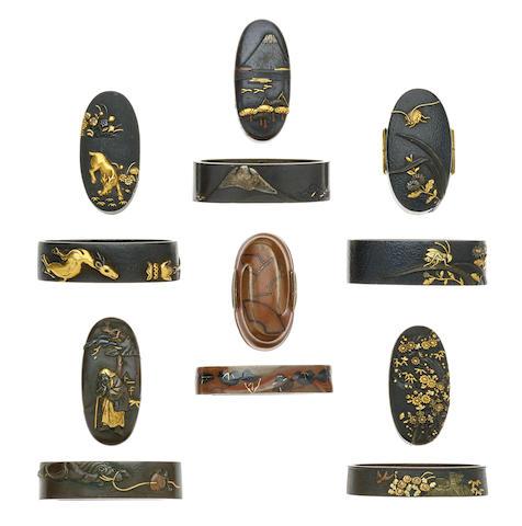 Six pairs of fuchi-gashira Edo period (1615-1868), 18th/19th century
