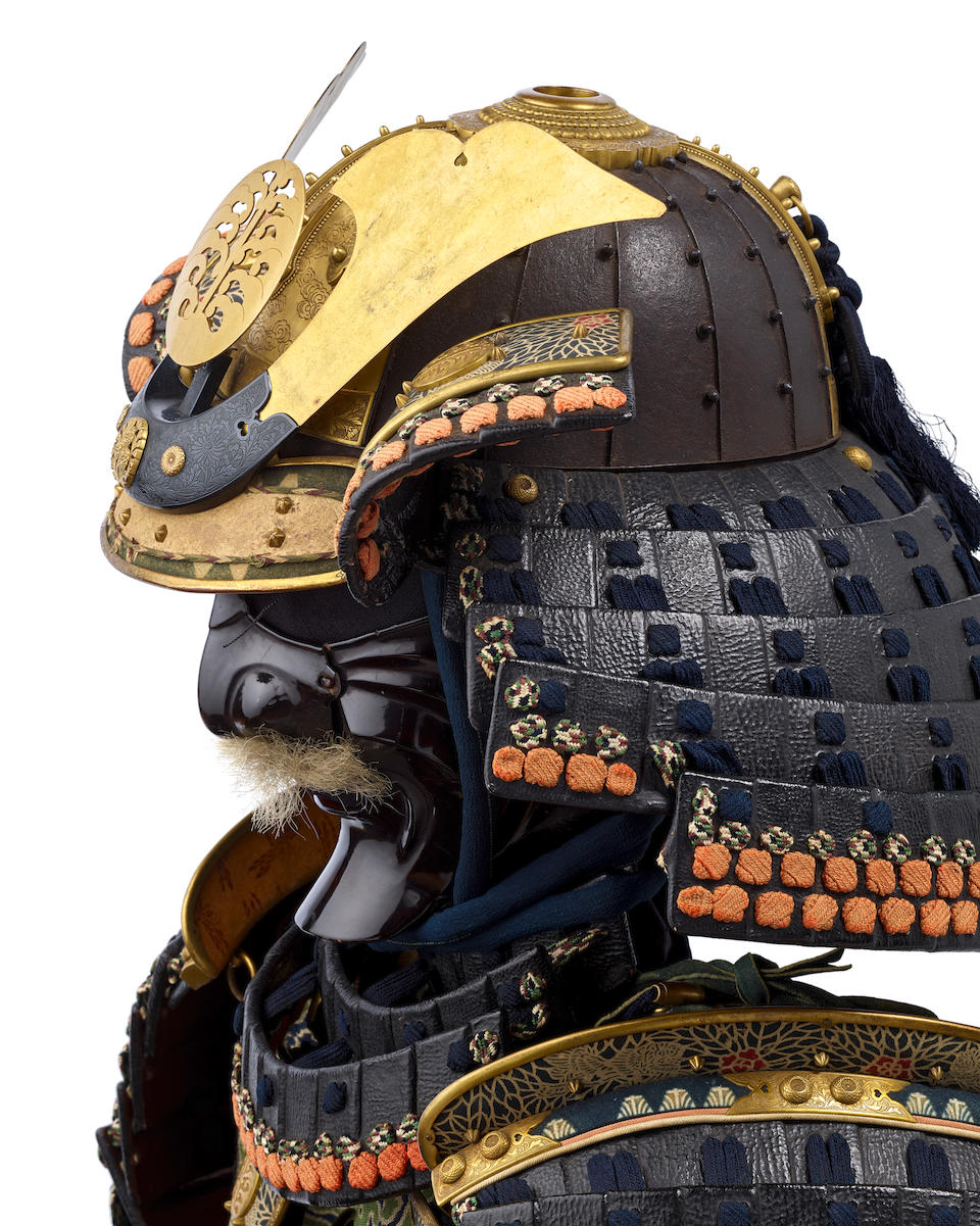 A blue-laced armor with a do-maru The helmet bowl Muromachi period (1333-1573), 16th century, the armor Edo period (1615-1868), 19th century