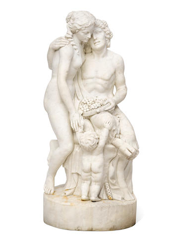 A near lifesize carved marble bacchanalian group post 1950