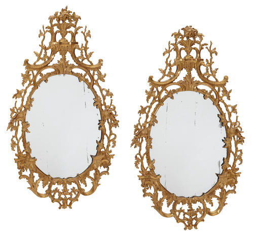 A good pair of George III carved giltwood mirrors circa 1760