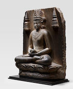 A BLACKSTONE STELE OF CROWNED BUDDHA BIHAR, PALA PERIOD, 10TH CENTURY