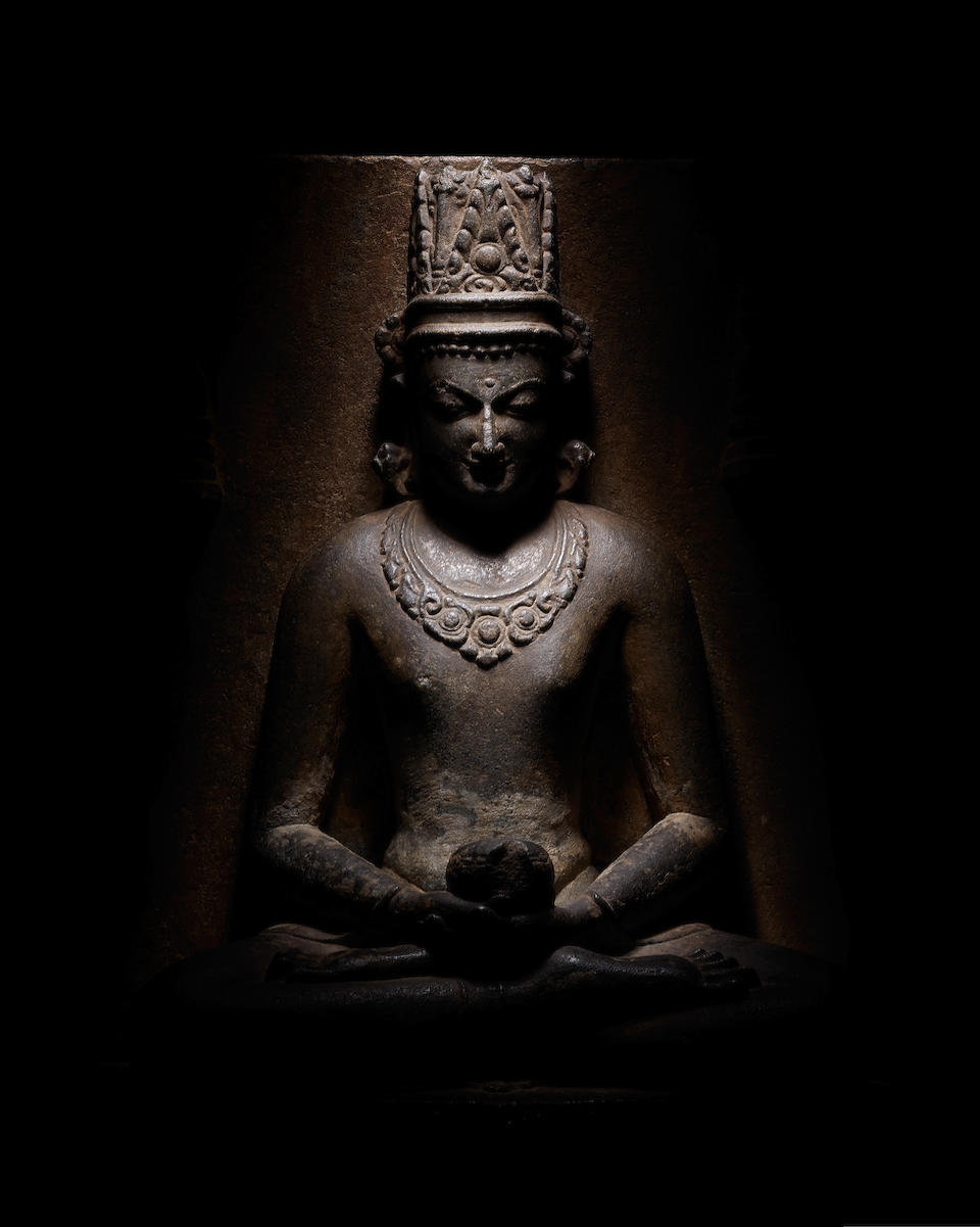 A BLACKSTONE STELE OF CROWNED BUDDHA BIHAR, PALA PERIOD, 10TH CENTURY