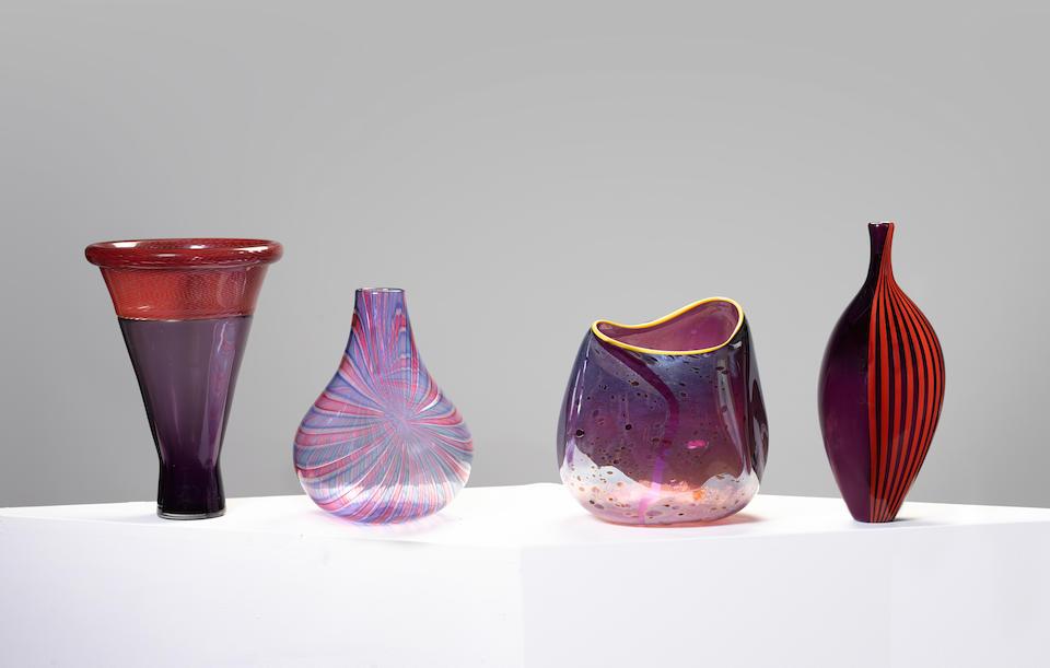 Lino Tagliapietra (born 1934) and Maria Grazia Angelin Vesselfor Effetre International, 1984blown glass, inscribed Tagliapietra/Angelin By F31 MURANO 15/100 1984'height 13 1/8in (33.5cm)