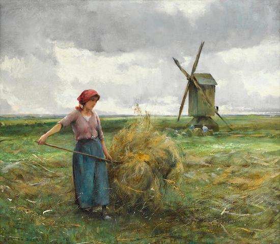 Julien Dupré  (French, 1851-1910) La fanneuse 18 1/4 x 21 3/4in (47 x 52cm)