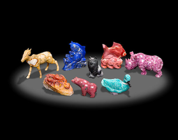 Group of Eight Animal Carvings