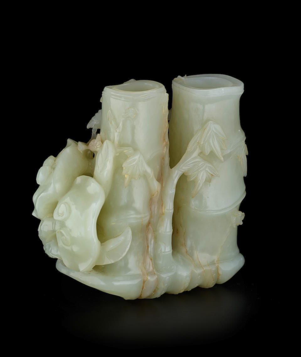A PALE CELADON JADE 'PHOENIX AND BAMBOO' DOUBLE VASE 18th century