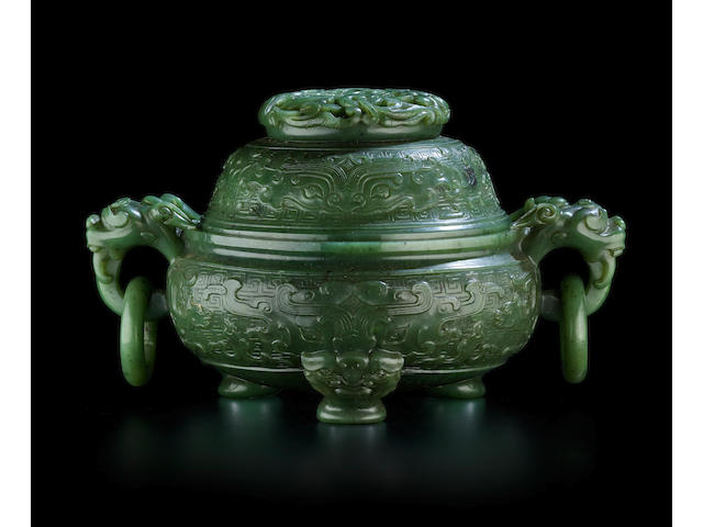 A SPINACH JADE  'TAOTIE' CENSER AND COVER Early 20th century