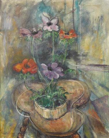 Max Weber (1881-1961) Still Life with Anemones on a Clover Leaf Table 30 x 24 1/4in (76 x 61.5cm)