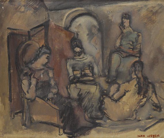 Max Weber (1881-1961) Four Women in an Interior 10 x 12 1/8in