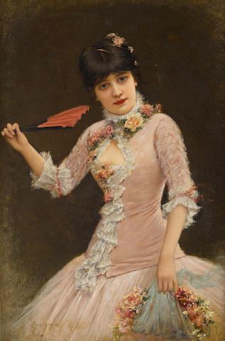 Emile Eisman-Semenowsky (Polish/French, 1857-1911) A portrait of a young lady in pink dress 24 3/8 x 16 1/2in (62 x 42cm)