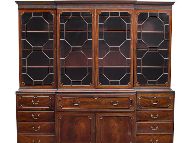 A good quality George III mahogany breakfront secretary bookcase fourth quarter 18th century