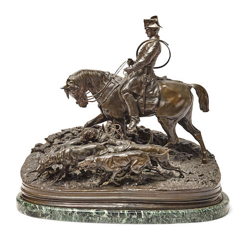 A French patinated bronze equestrian group after a model by Pierre-Jules Mêne (French, 1810-1871) 20th century