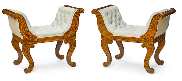 A pair of Continental Neoclassical inlaid figured walnut benches second quarter 19th century