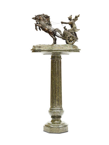 An Italian patinated bronze of a two horse Roman chariot and rider late 19th century