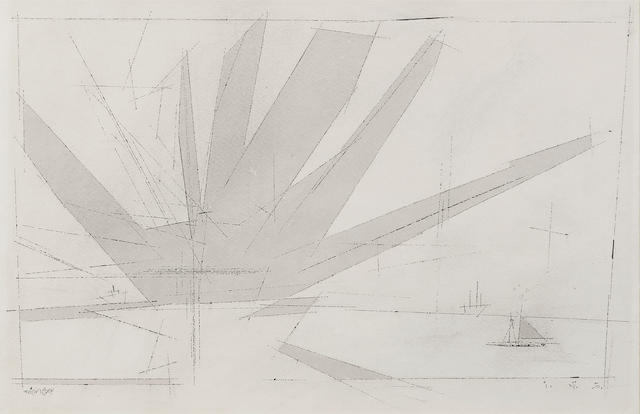 Lyonel Feininger (1871-1956) Fan-Shaped Cloud (Grey) 12 3/8 x 18 3/4 in (31.4 x 47.8 cm) (Drawn in 1950)