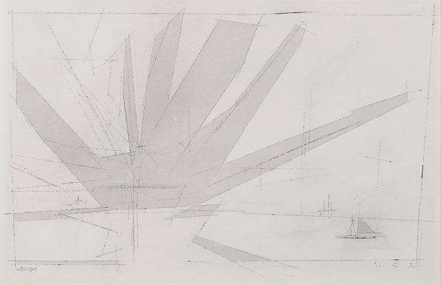 Lyonel Feininger (1871-1956) Fan-Shaped Cloud (Grey) 12 3/8 x 18 3/4 in (31.4 x 47.8 cm) (Drawn in 1950)