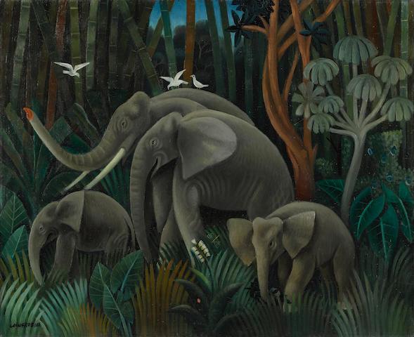 Miguel Covarrubias (1904-1957) Elefantes en la selva 22 1/4 x 27 1/8 in (56.5 x 68.9 cm) (Painted circa 1932)
