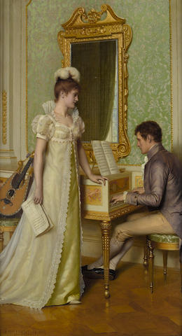 Edmund Blair Leighton, ROI (British, 1852-1922) Prelude 26 x 20 3/4in (66 x 52.8cm)