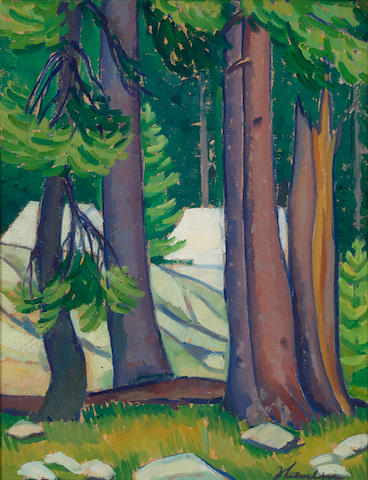 Edith Anne Hamlin (1902-1992) Woodland Camps 15 1/2 x 12in overall: 21 x 17 1/2in