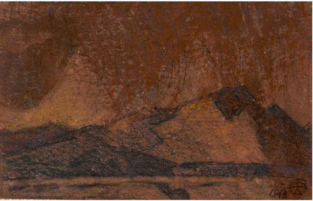 Maynard Dixon (1875-1946) Compositions for paintings, Tucson, Arizona (a group of three) 3 1/8 x 5in; 2 1/4 x 4 3/8in; 2 3/4 x 5 3/8in overall: 17 3/4 x 14 3/4in (framed together)