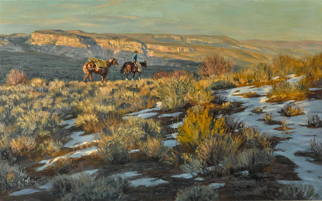 Valoy Eaton (born 1938) West of the Gorge 30 x 48in overall: 40 x 58in (Painted in 1981)