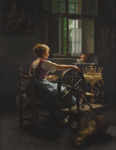 Giovanni Battista Torriglia (Italian, 1858-1937) A maiden at work 32 1/2 x 25 1/4in (82.5 x 64cm)