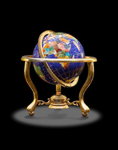 Multi-Gemstone Inlaid Globe