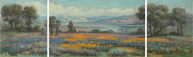 William Franklin Jackson (1850-1936) A field of California wildflowers with a lake in the distance triptych, central panel: 11 3/4 x 19 1/2in wings: 11 3/4 x 9 3/4in (each) overall: 16 x 44in
