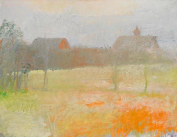 Wolf Kahn (born 1927) Two Barns at Dawn 36 3/8 x 48 1/4in