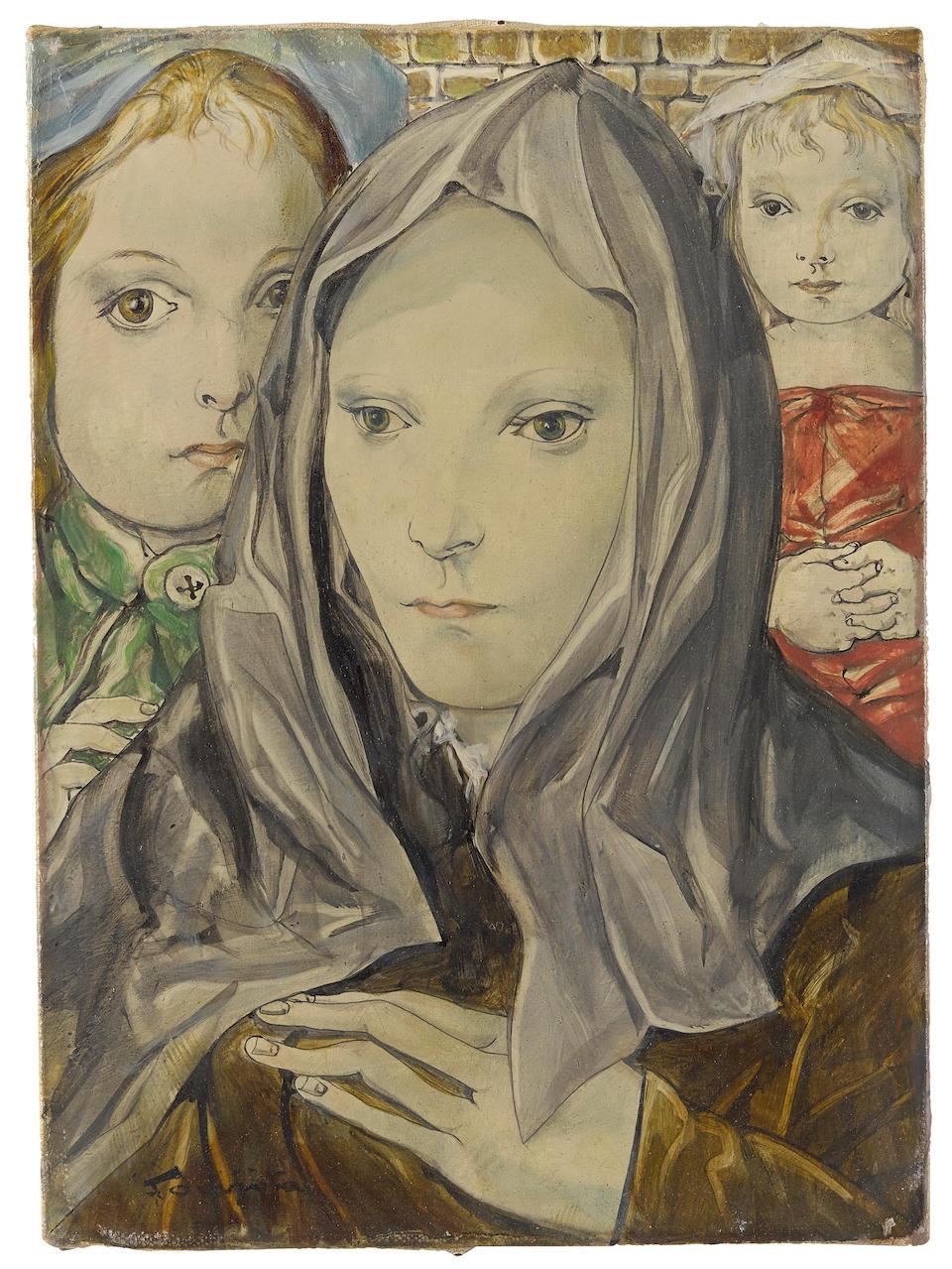 Léonard Tsuguharu Foujita (1886-1968) La femme au voile 8 3/4 x 6 3/8 in (22.3 x 16.2 cm) (Painted in 1954)