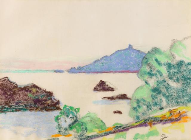 Armand Guillaumin (1841-1927) Agay, le château et le sémaphore 18 1/8 x 23 3/8 in (46 x 63 cm)