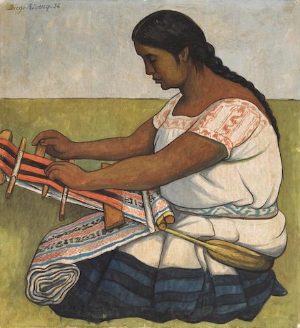 Diego Rivera (1886-1957) Hilando (La tejedora) 22 3/4 x 20 7/8 in (57.8 x 53 cm) (Painted in 1936)
