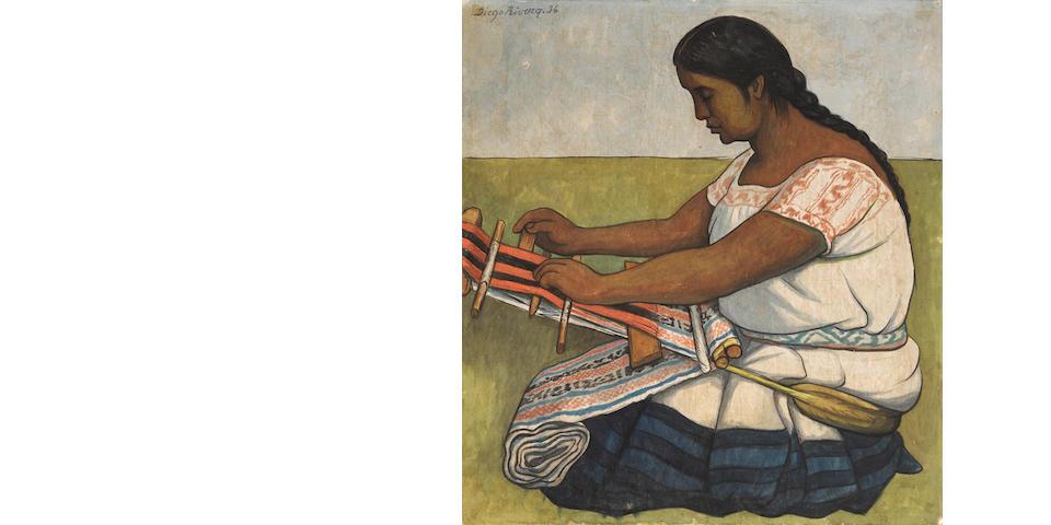 Diego Rivera (1886-1957) Hilando (La tejedora) 22 3/4 x 20 7/8 in (57.8 x 53 cm) (Executed in 1936)