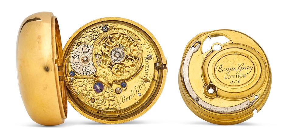 Benjamin Gray, London, A gold and shagreen pique- work pair case cylinder watchinner case hallmarked London, 1765