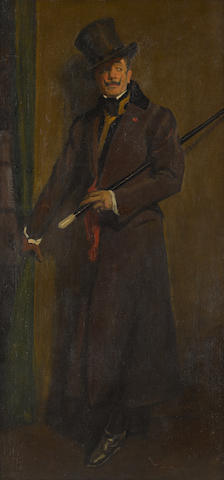 Victor David Hecht (1873-1931) Portrait of Otis Skinner as Colonel Philippe Bridau 17 1/4 x 35 1/4in (Painted circa 1912.)
