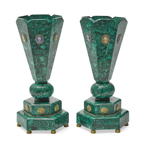 A pair of malachite veneered and cameo set hexagonal vases