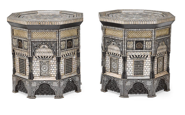 An impressive pair of Levantine shell and bone inlaid octagonal tables