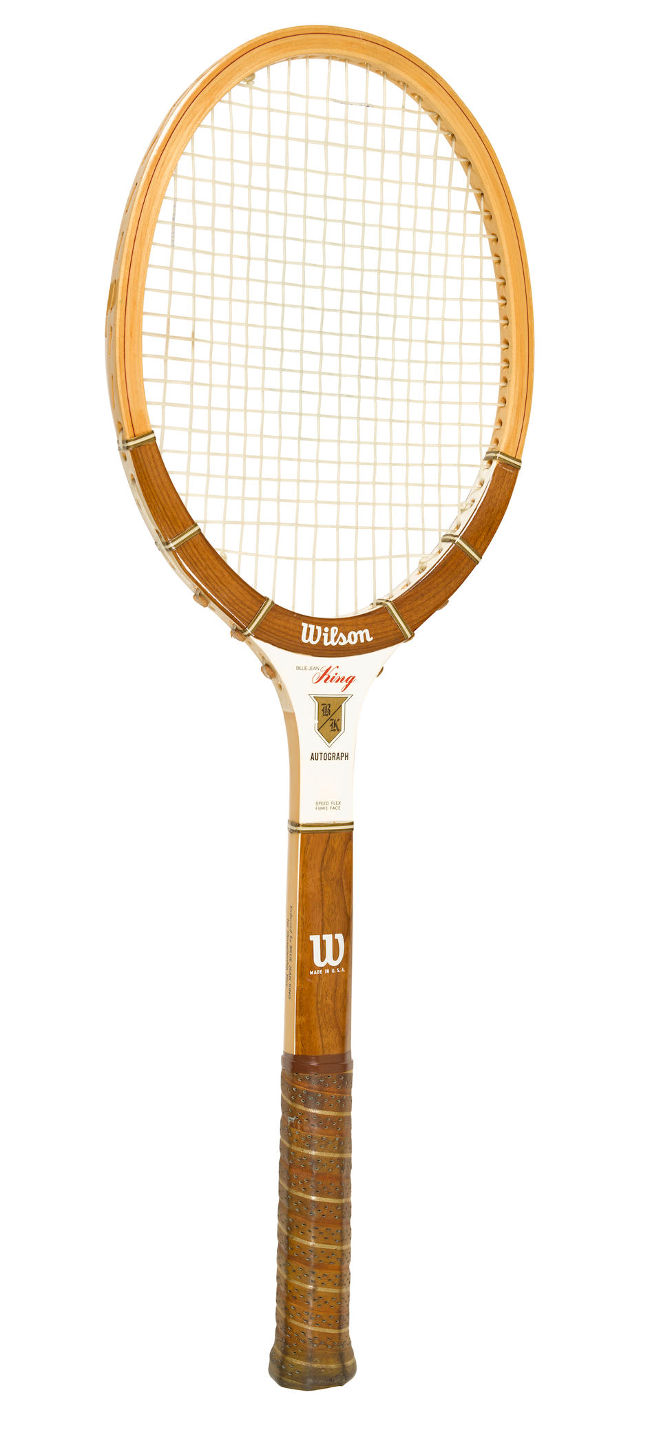 BATTLE OF THE SEXES: The tennis racquet used by Billie Jean King during her epochal match against Bobby Riggs, September 20, 1973.