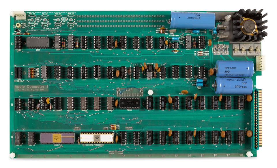 """Apple 1 Computer Apple 1 Motherboard, with label """"Apple Computer 1 / Palo Alto. Ca. Copyright 1976."""""""