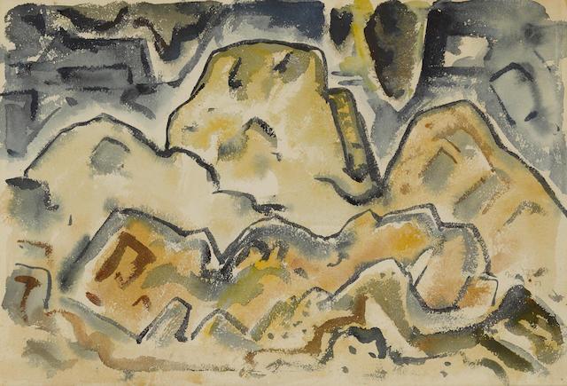Bror Julius Olsson Nordfeldt (1878-1955) Mountains, Arizona 15 1/2 x 22 1/2in overall: 22 1/2 x 28 1/2in (Painted in 1951)