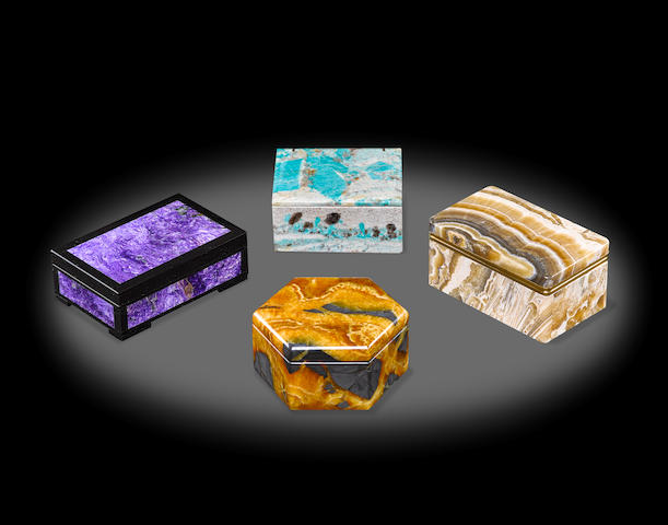 Group of Four Lapidary Boxes