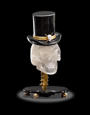 Rock Crystal Skull with Obsdian Hat by Luis Alberto Quispe Aparicio