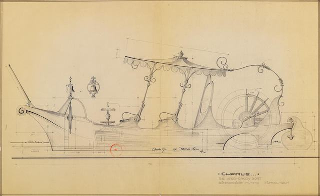 A group of Harper Goff drawings of the S.S. Wonkatania for Willy Wonka and the Chocolate Factory