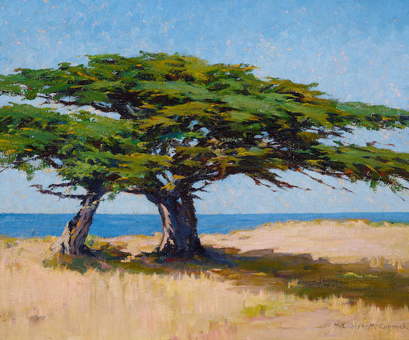 M. Evelyn McCormick (1869-1948) Two Cypress 20 x 24in overall: 22 1/2 x 26 1/2in
