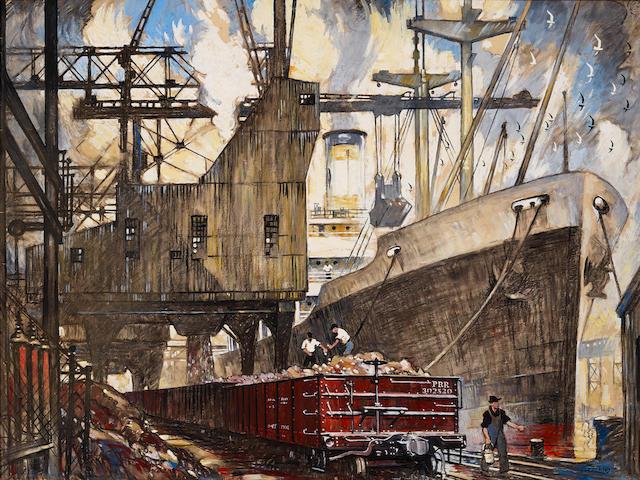 Thornton Oakley (1881-1953) Pennsylvania Railroad, Ore Handling Facilities, Girard Point, Philadelphia, Pennsylvania 29 3/4 x 40in overall: 38 x 38in