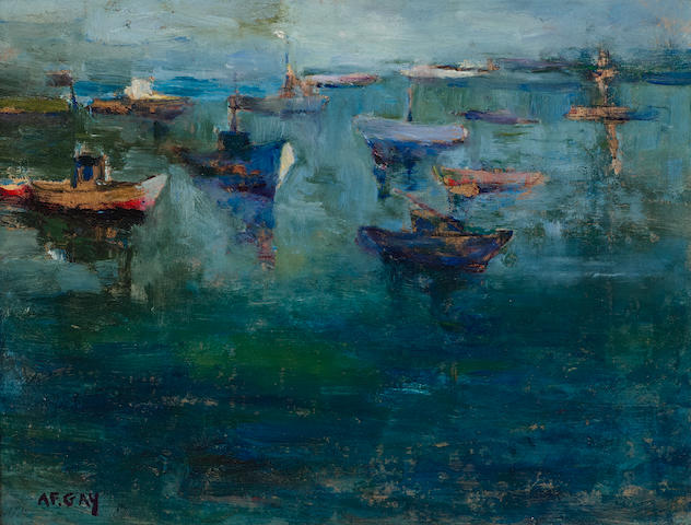 August Gay (1890-1948) Fishing boats 10 x 13in overall: 16 x 19in (Painted circa 1927-1929)